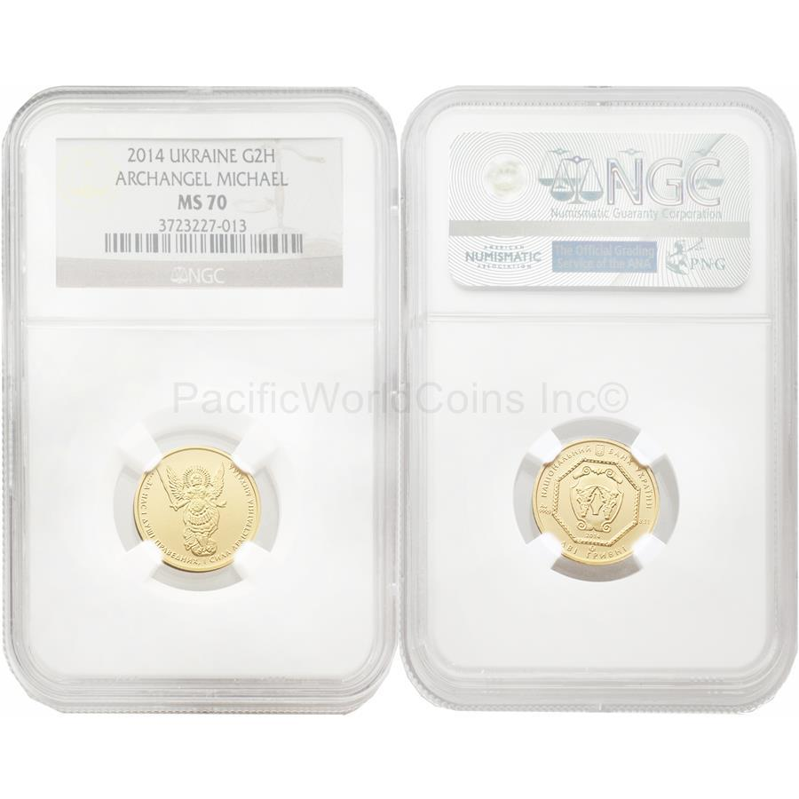 Ukraine 2014 Archangel Michael 2 UAH 1/10 oz Gold NGC MS70