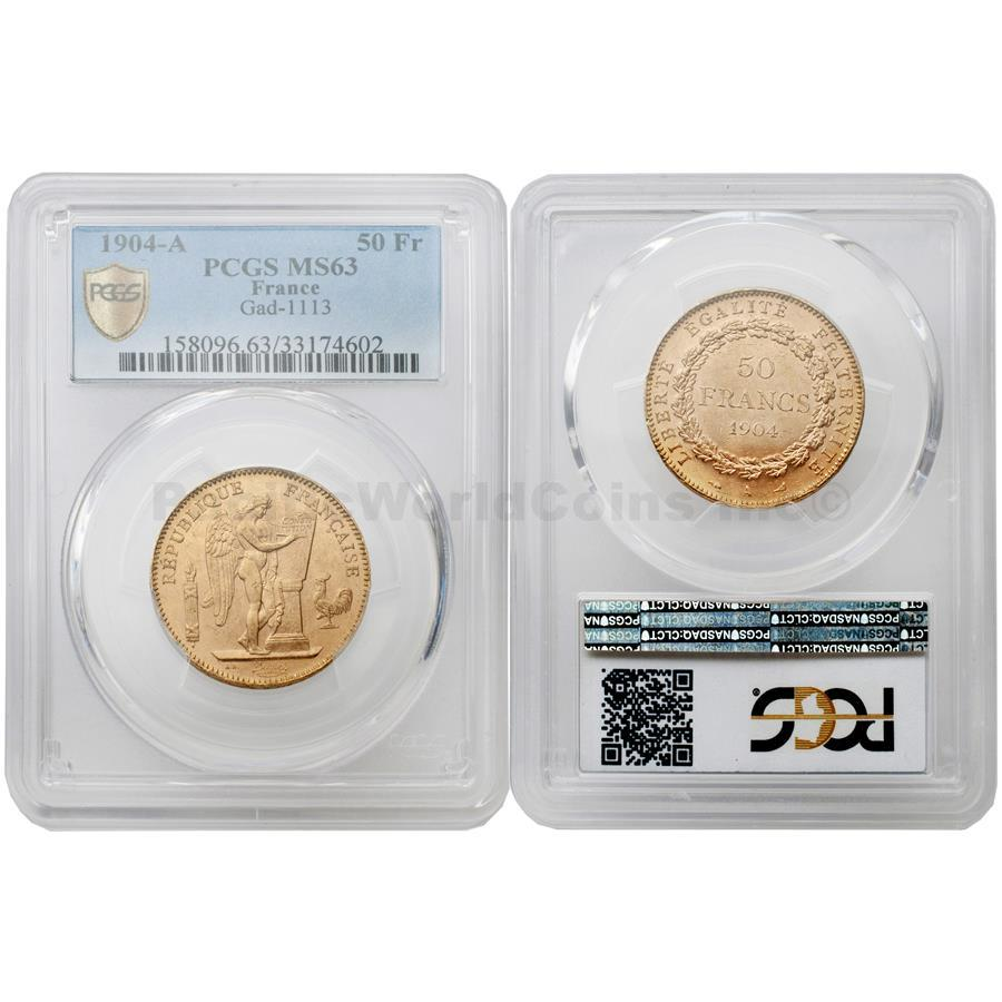 France 1904 A 50 Francs Gold PCGS MS 63