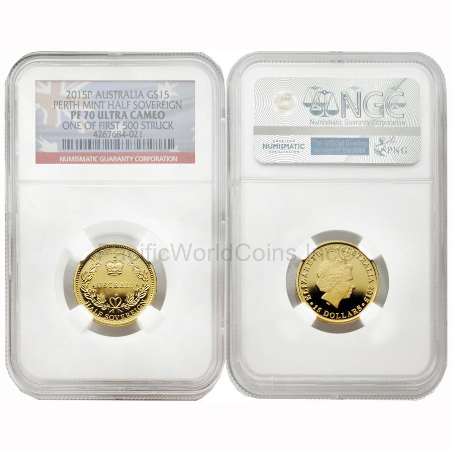 Australia 2015 Perth Mint Half Sovereign 15 Dollars Gold NGC PF70 Ultra Cameo
