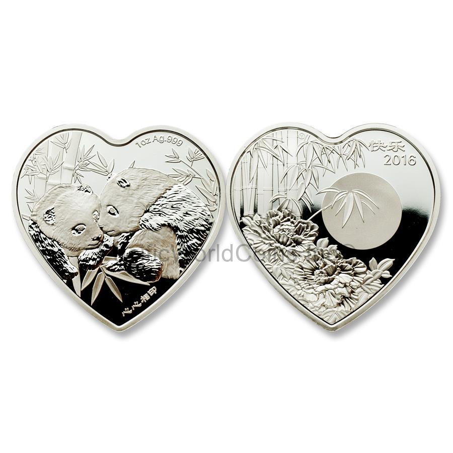 China 2016 Valentine Bamboo Panda 1 oz Silver Heart-shaped