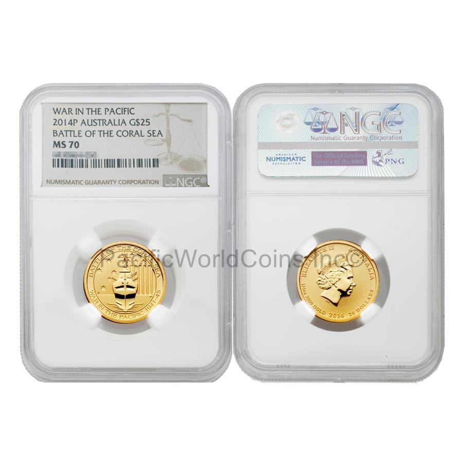 Australia 2014 War in the Pacific Battle of the Coral Sea $25 Gold NGC MS70