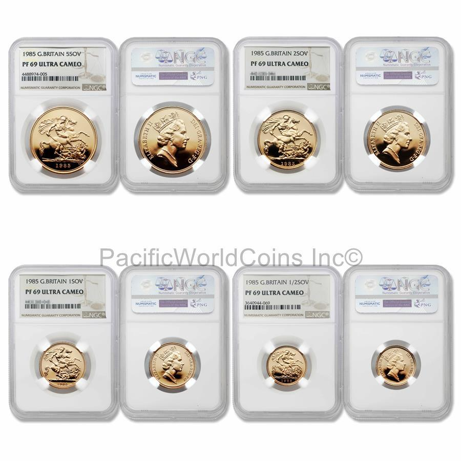 Great Britain 1985 Sovereign 4pc Gold NGC PF69 Set