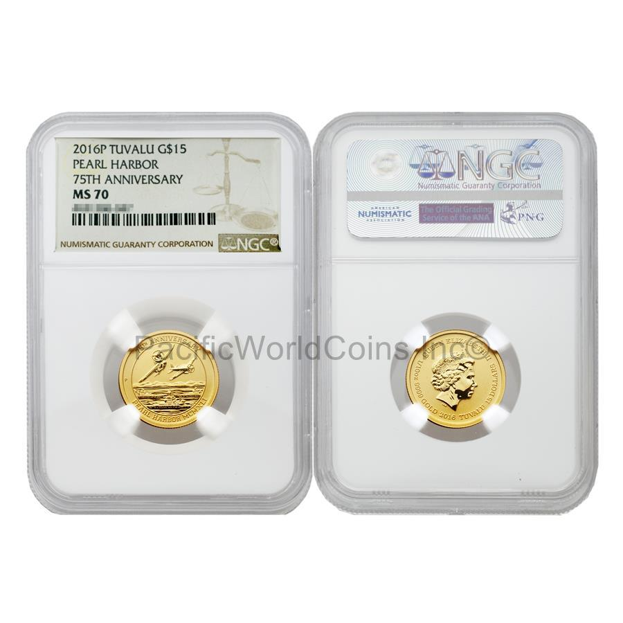 Tuvalu 2016 Pearl Harbor 75th Anniversary $15 Gold NGC MS70