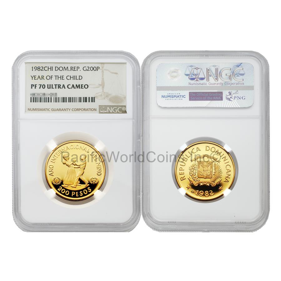 Dominican Republic 1982 Year of Child 200 Pesos Gold NGC PF70 ULTRA CAMEO