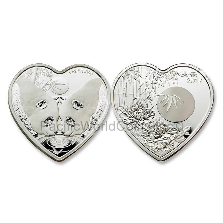 China 2017 Valentine Bamboo Panda 1 oz Silver Heart-shaped Proof Coin with COA