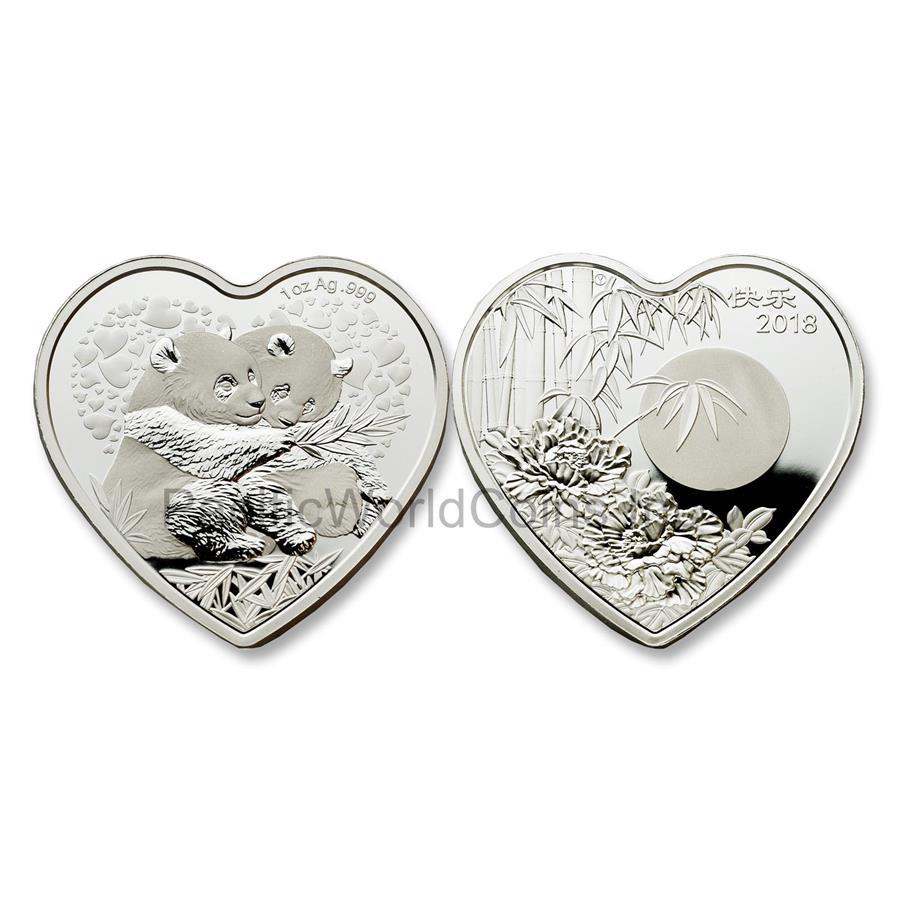 China 2018 Valentine Bamboo Panda 1 oz Silver Heart-shaped Proof Coin with COA