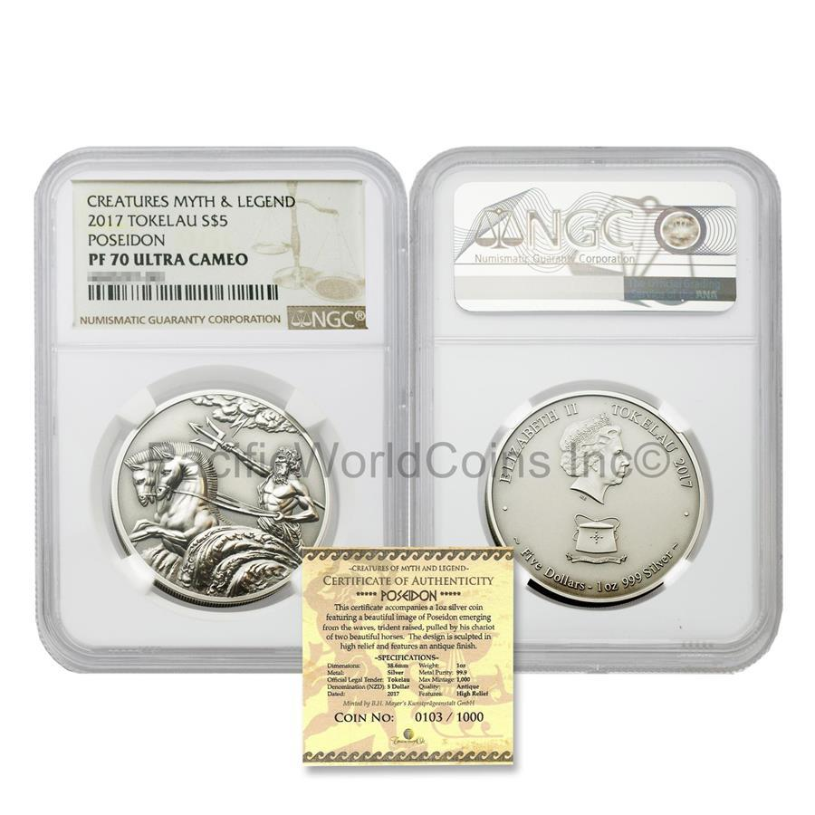 Tokelau 2017 Creatures Myth & Legend Poseidon $5 Silver NGC PF70 UC Antique High Relief