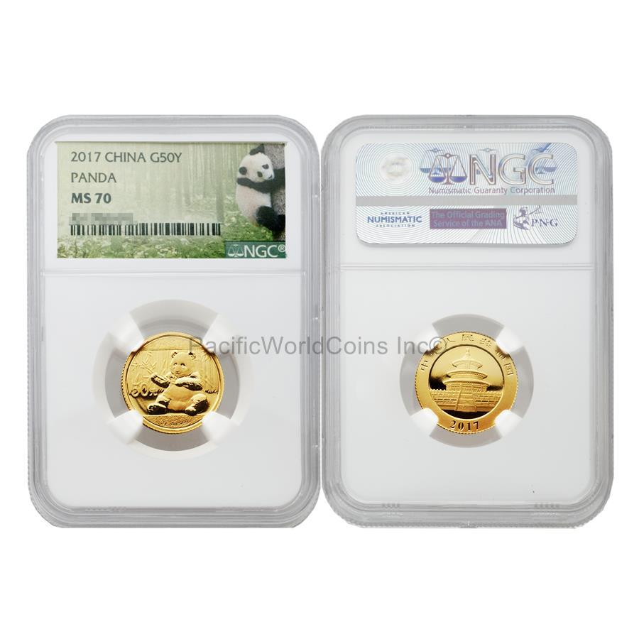 China 2017 Panda 50 Yuan 3g Gold NGC MS70