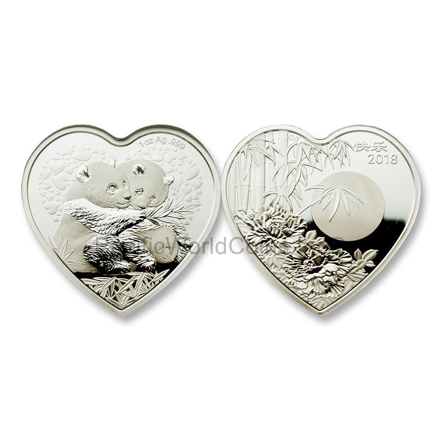 China 2018 Valentine Bamboo Panda 1 oz Silver Heart-shaped NGC PF69 ULTRA CAMEO