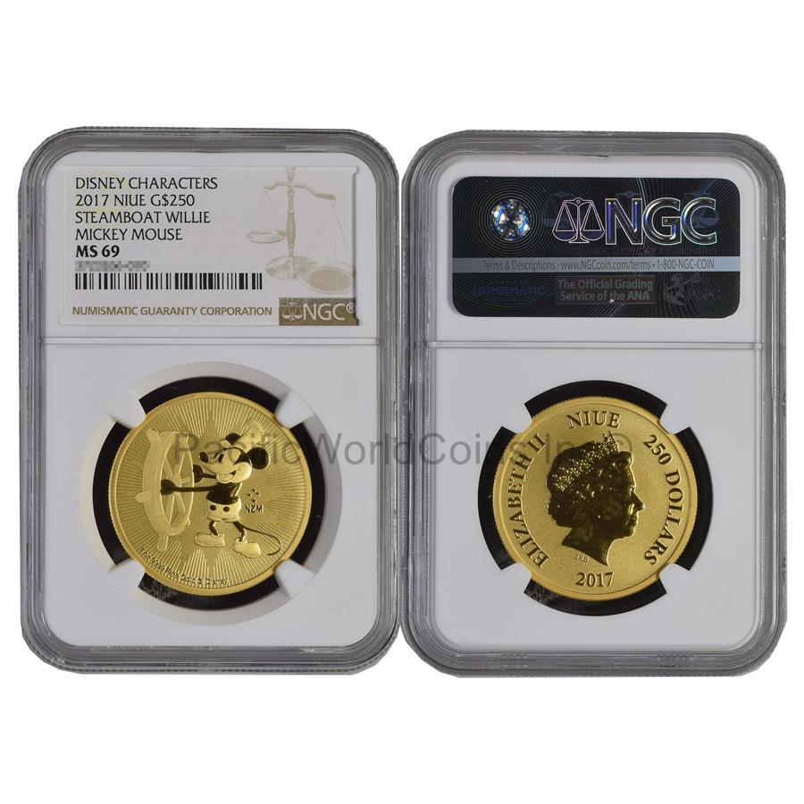 Niue 2017 Disney Characters Steamboat Willie Mickey Mouse $250 1 oz Gold NGC MS69