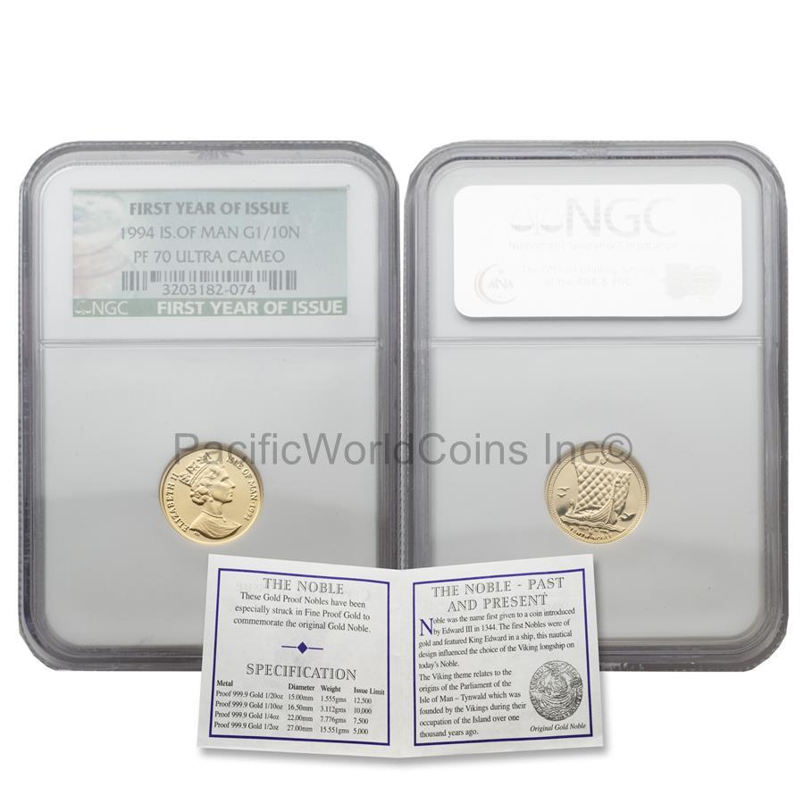 Isle of Man 1994 First Year of Issue 1/10 Noble 1/10 oz Gold NGC PF70 ULTRA CAMEO with COA