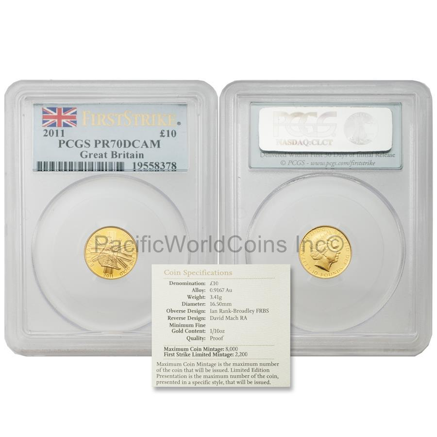 Great Britain 2011 Britannia 10 Pounds Gold PCGS PR70 DCAM First Strike