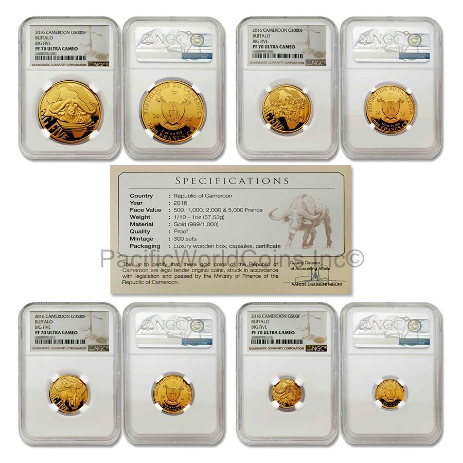 Cameroon 2016 Buffalo Big Five 4 Coins Gold NGC PF70 ULTRA CAMEO Set with COA