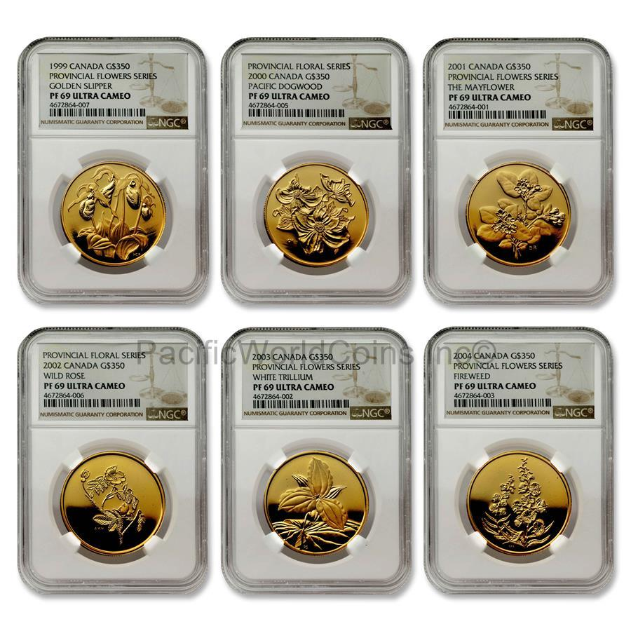 Canada 1999-2004 Provincial Flowers Series 6 coins Gold NGC PF69 ULTRA CAMEO Set