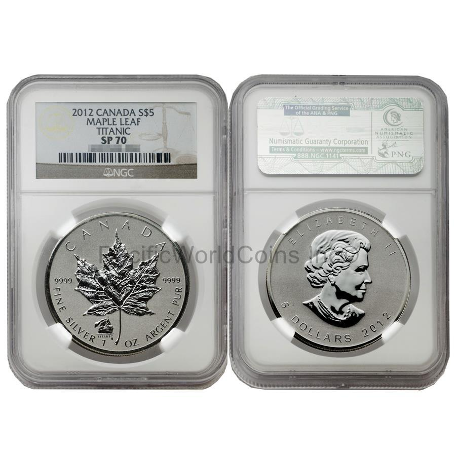 Canada 2012 Maple Leaf Titanic $5 Silver NGC SP70