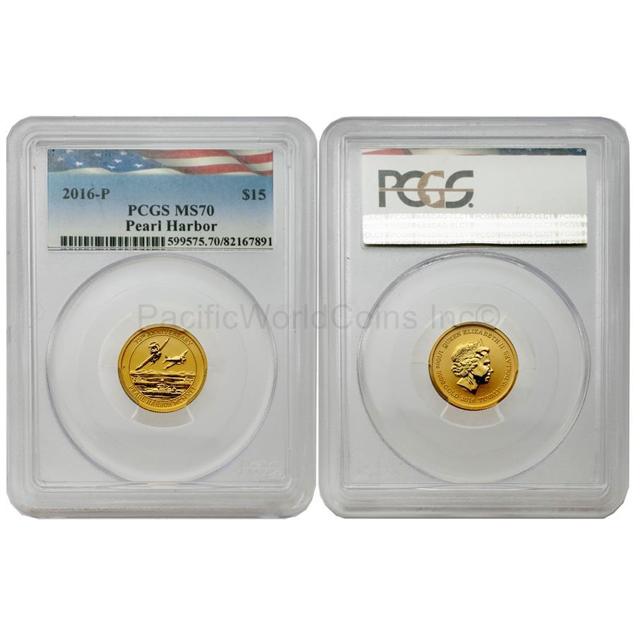 Tuvalu 2016 Pearl Harbor 75th Anniversary $15 Gold PCGS MS70