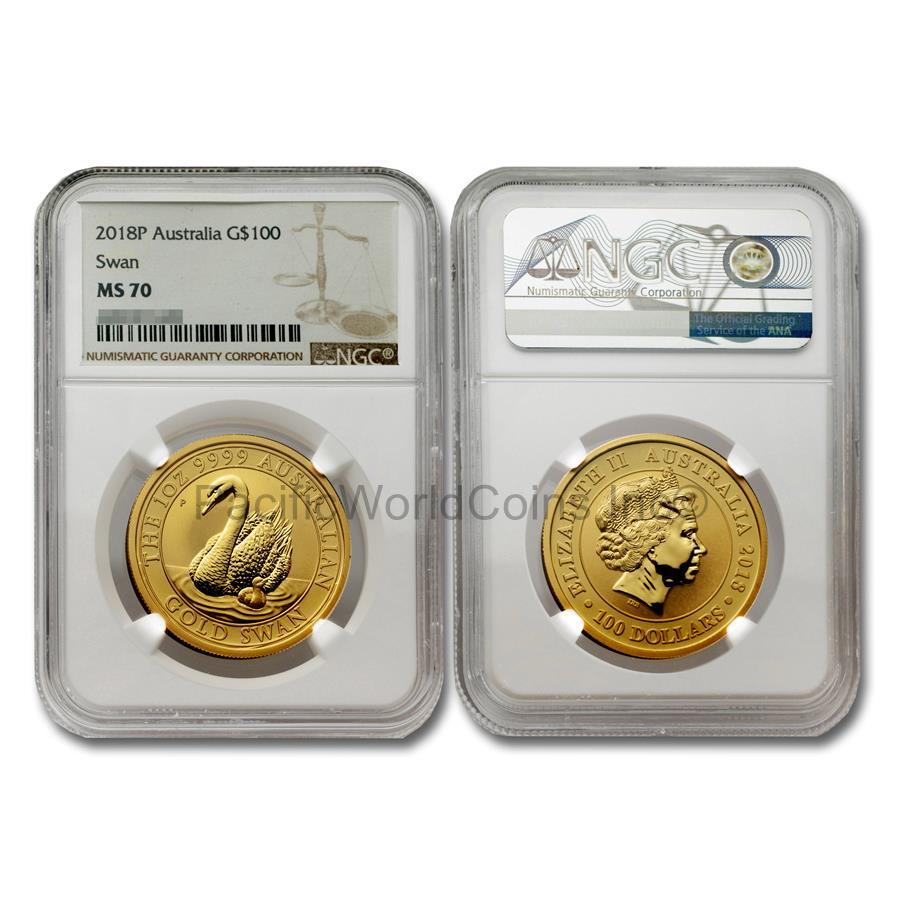 Australia 2018 Swan $100 1 oz Gold NGC MS70