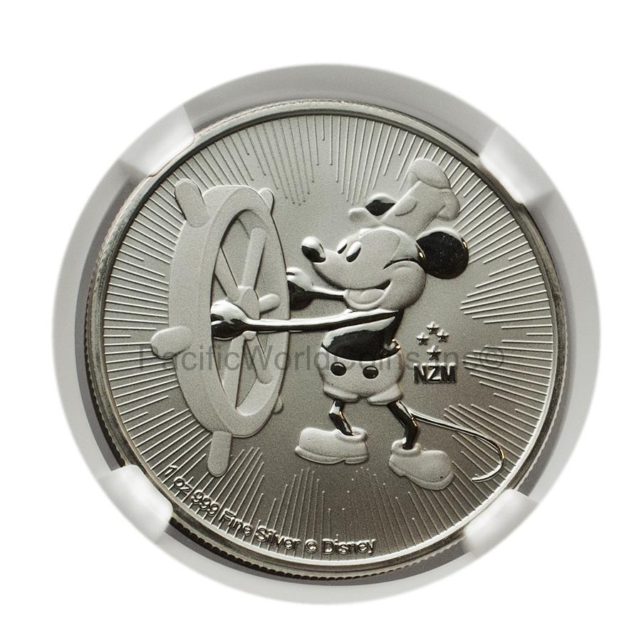 Niue 2017 Disney Characters Steamboat Willie Mickey Mouse $2 1 oz Silver NGC MS70